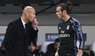 Real Madrid head coach Zinedine Zidane and forward Gareth Bale