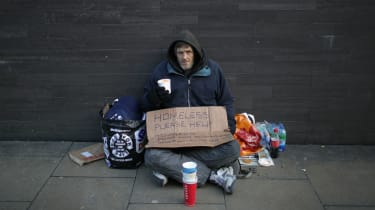 A homeless man in Manchester earlier this year