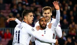 Tottenham forward Lucas Moura celebrates his goal against Barcelona at the Camp Nou