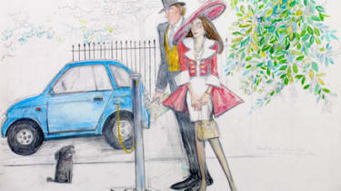 Couple with electric car
