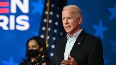 Then-Democratic candidate Joe Biden address supporters while votes were being counted across the US
