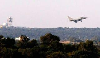 An RAF jet returns to Akrotiri, near Cyprus, following overnight raids on Syria