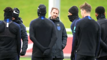 England head coach Gareth Southgate oversees training at St George's Park