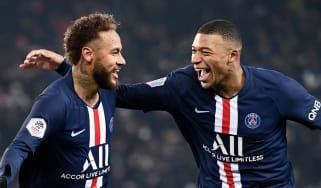 Neymar and Kylian Mbappe celebrate a goal for Paris Saint-Germain