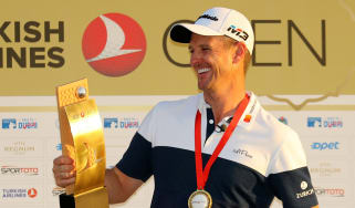 Justin Rose holds the trophy after his win at the Turkish Airlines Open