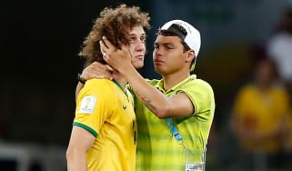 Thiago Silva and David Luiz of Brazil