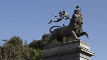 A lion statue situated near the Central Train Station in Ethiopia's capital Addis Ababa