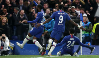 Chelsea players celebrate Reece James's equalising goal against Ajax