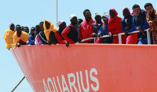 The Aquarius rescue ship is run by NGO S.O.S. Mediterranee and Medecins Sans Frontieres