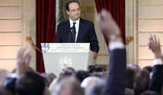 Francois Hollande at yesterday's press conference