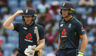 England one-day captain Eoin Morgan (left) and Jos Buttler bat against the West Indies