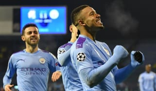 Man City striker Gabriel Jesus celebrates scoring against Dinamo Zagreb