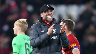 Jurgen Klopp celebrates Liverpool's dramatic victory against Arsenal in the Carabao Cup