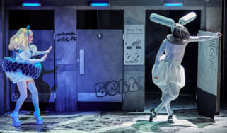 Carly Bawden as 'Alice' and Joshua Lacey as the white rabbit in Wonder.land, Royal National Theatre, London 2015