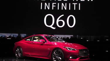 DETROIT, MI - JANUARY 11: The 2017 Infiniti Q60 is revealed to the news media during the 2016 North American International Auto Show (NAIAS ) January 11, 2016 in Detroit, Michigan. The NAIAS