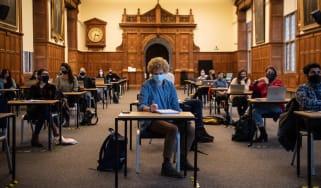Masked students at Oxford University