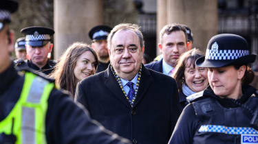 Alex Salmond outside the High Court in Edinburgh shortly before being acquitted of sex charges in March 2020