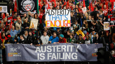 LONDON, UNITED KINGDOM - OCTOBER 20:Demonstrators take part in a TUC march in protest against the government's austerity measures on October 20, 2012 in London, England. Thousands of people a
