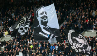 Newcastle United fans display a Rafa Benitez flag at St James' Park