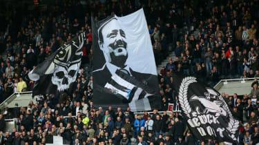 Newcastle United fans display a Rafa Benitez flag at St James' Park