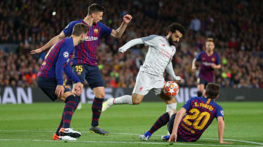 Liverpool striker Mohamed Salah in action against Barcelona in the Champions League
