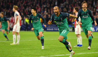Tottenham forward Lucas Moura celebrates his hat-trick winner against Ajax
