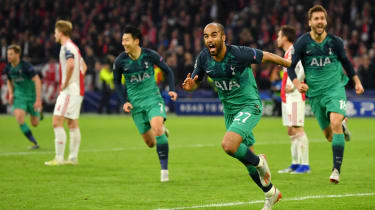 Tottenham forward Lucas Moura celebrates his hat-trick winner against Ajax
