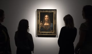The Salvator Mundi on display at Christies in 2017