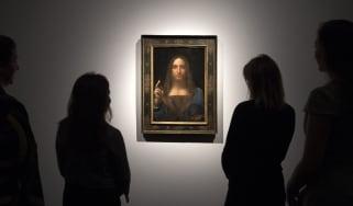 The Salvator Mundi on display at Christies in 2017