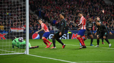 Saul Niguez scored Atletico Madrid's winning goal against Liverpool