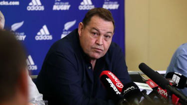 New Zealand rugby union head coach Steve Hansen announces his decision