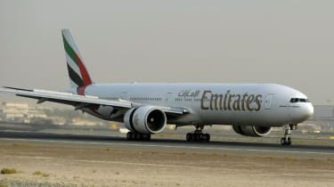 An Emirates plane readies for take-off at Dubai airport