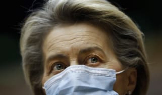 European Commission President Ursula Von Der Leyen wearing a face mask.
