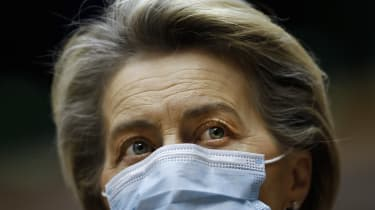 European Commission President Ursula Von Der Leyen wearing a face mask.