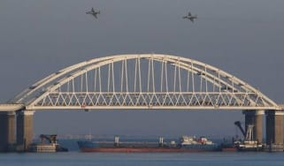 A moored Russian tanker blockading the Kerch Strait