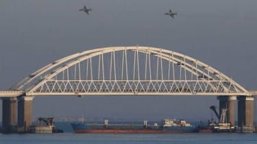 A moored Russian tanker blockading the Kerch Strait