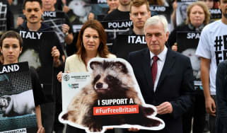 Shadow chancellor John McDonnell joins anti-fur protesters outside Parliament last month