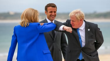 Boris Johnson, Emmanuel Macron and Brigitte Macron