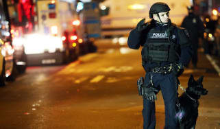 A police officer at the shooting scene in New York