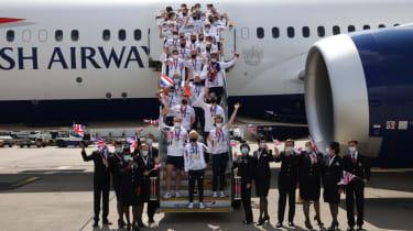Team GB Olympians arrive back at Heathrow