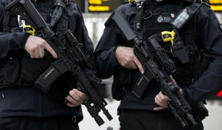 Armed officers from the British Transport Police