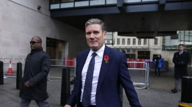 Keir Starmer leaves the BBC after an appearance on The Andrew Marr Show.