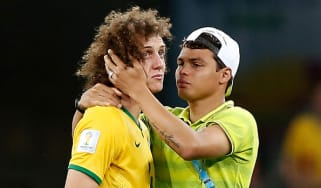 Thiago Silva comforts David Luiz after Brazil's 7-1 semi-final loss