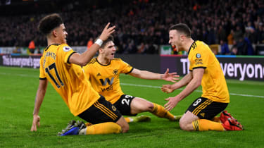Diogo Jota (right) celebrates his goal for Wolves in the 2-1 win against Chelsea