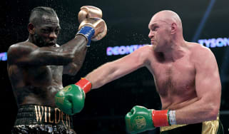 Tyson Fury hits Deontay Wilder during the drawn WBC heavyweight title fight in December 2018