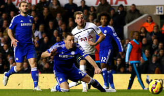 Harry Kane scores for Spurs against Chelsea