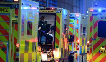Ambulances outside a hospital during third national lockdown