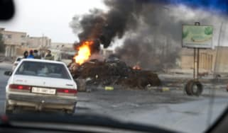 Anti-Gaddafi forces check cars in Zintan, Libya