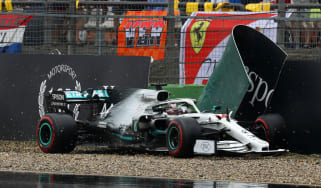 Mercedes driver Lewis Hamilton finished ninth in the German GP after spinning off