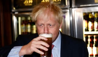 Boris Johnson on a visit to a pub
